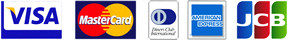 VISA / MasterCard / Diners Club / AMERICANEXPRESS / JCB 各種クレジットカードがご利用頂けます。